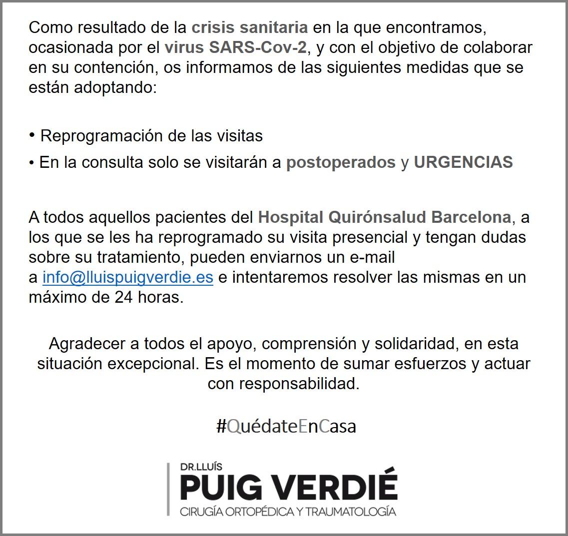 Actuaciones virus COVID19 Dr. Lluís Puig Verdié